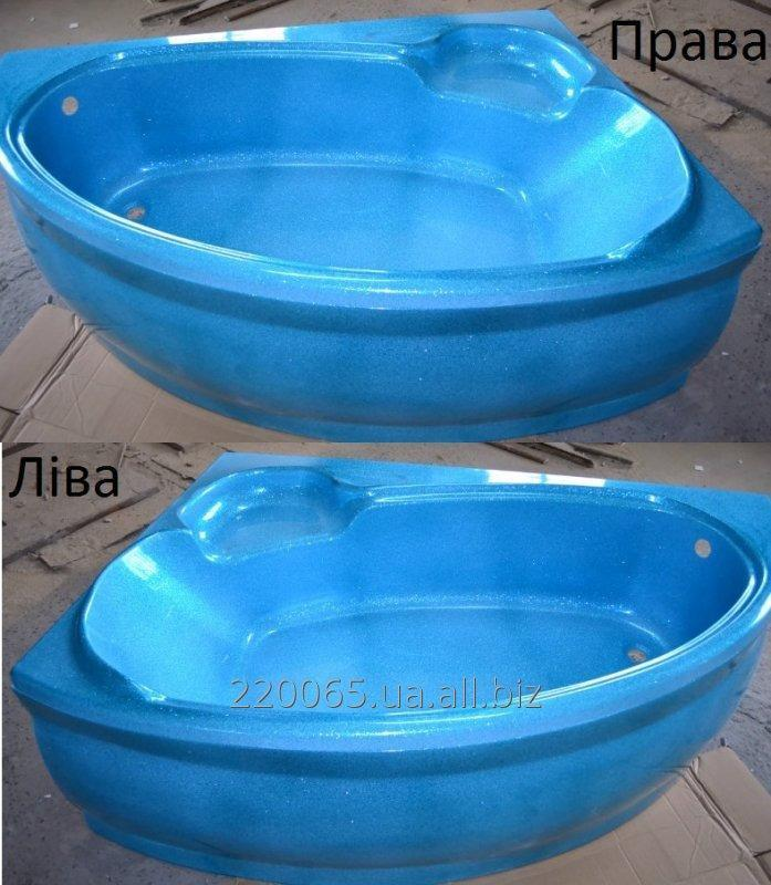 Купить Ванна акрилова кутова КМТ Аделаїда 170 X 110 ліва/права з ніжками і панелькою Голуба з перламутровим ефектом