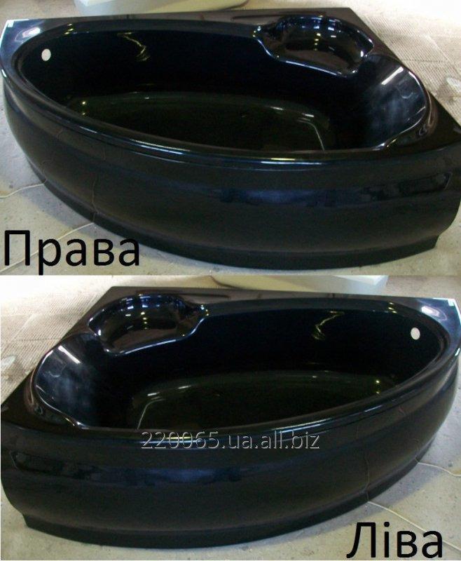Купить Ванна акрилова кутова КМТ Аделаїда 170 X 110 ліва/права з ніжками і панелькою Чорна з перламутровим ефектом