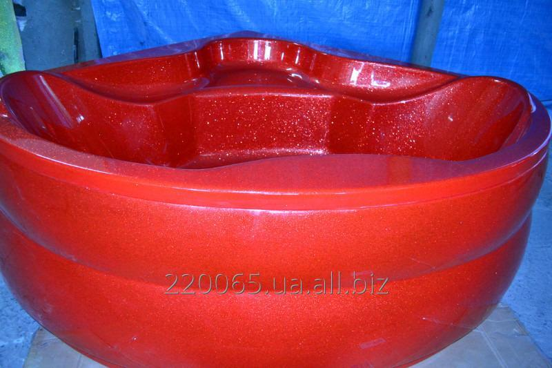 Купить Ванна акрилова кутова КМТ Релакс 150 X 150 з ніжками і панелькою Червона з перламутровим ефектом