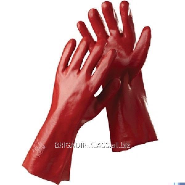 Перчатки МБС красные длинные уп. 12 пар. ,Модель  PV-19-1