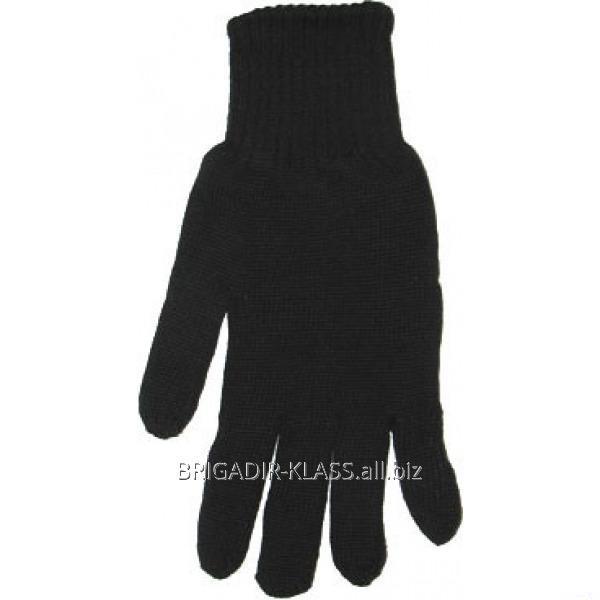 Перчатки зимние, черные двойные, без точки. уп. 12 пар. ,Модель  ПВ-01-4