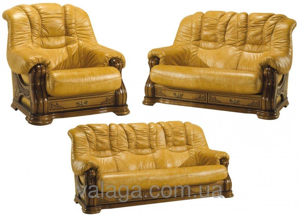 Купить Кожаный диван и кресла на дубе Cheverny