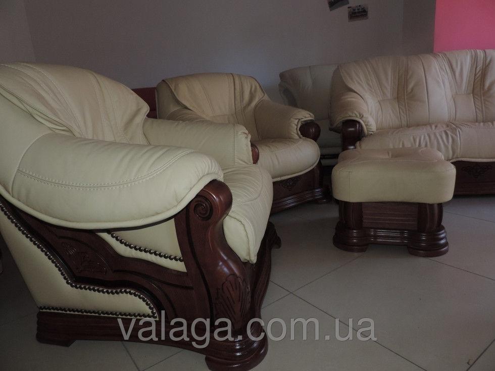 Купить Кожаный комплект раскладной диван + 2 кресла на дубе Magnat