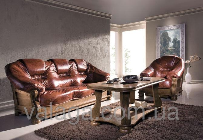 Купить Кожаный диван на дубе коричневй