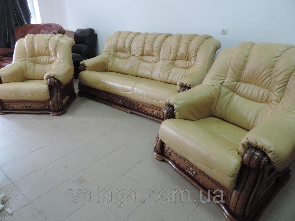 Купить Кожаный небор cheverny диван + 2 кресла беж