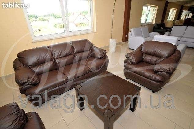 Купить Кожаный набор диван + 2 кресла Sara коричневый
