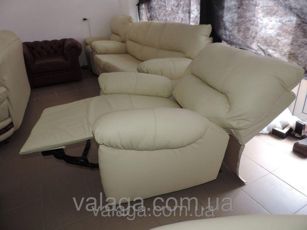 Купить Кожаный диван реклайнер белый