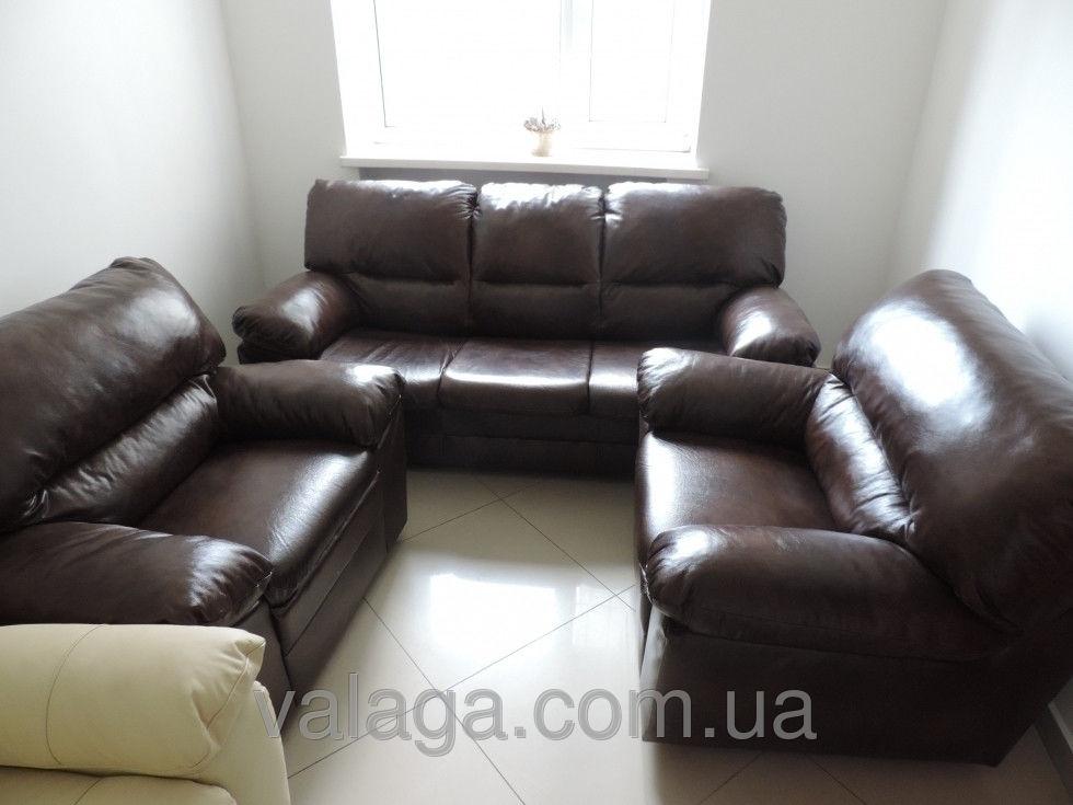 Купить Кожаный диван и кресла 3R + 1 + 1 Tina темно коричневый