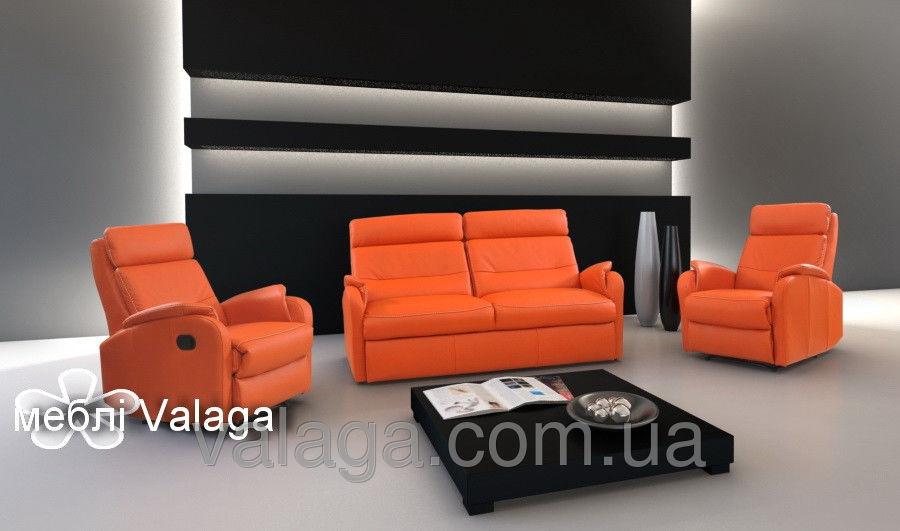 Купить Кожаный диван реклайнер regan + 2 кресла релакс оранжевый