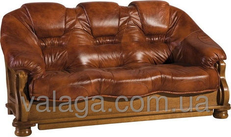 Купить Кожаный диван на дубе коричневый
