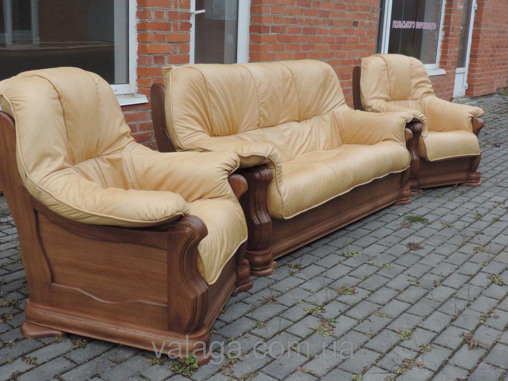 Купить Кожаный набор на дубе диван и 2 кресла Alfa II