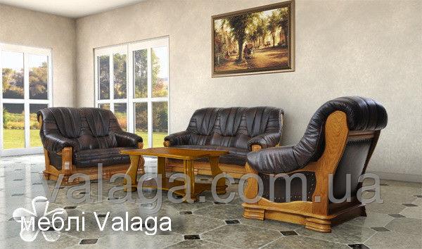 Купить Кожаный набор на дубе Boss раскладной диван + 2 кресла