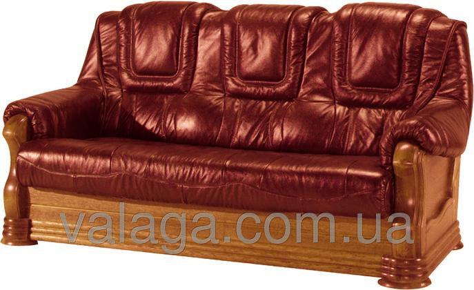 Купить Кожаный диван на дубе Aneta II коричневый