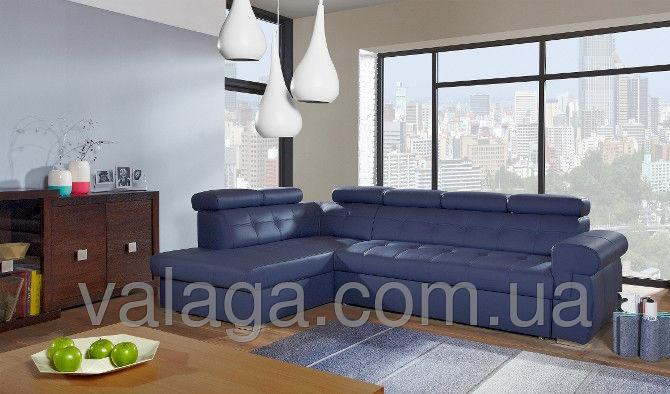 Купить Шкіряний диван на деревяній основі синій
