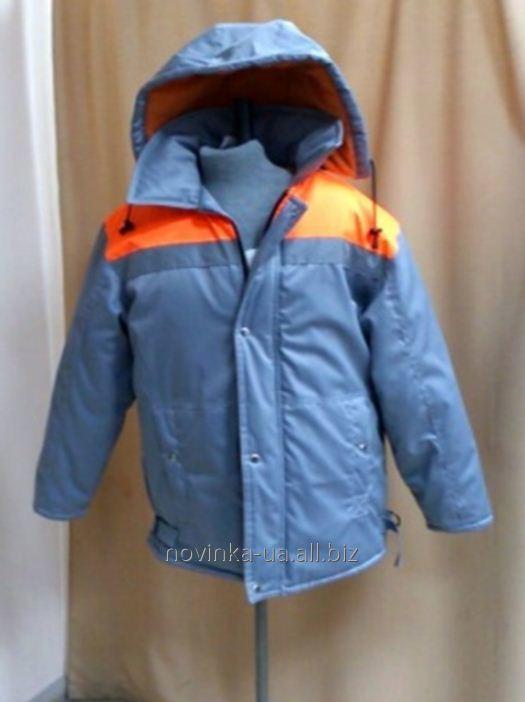 Куртка утепленная с капюшоном серая с ораньжевыми вставками