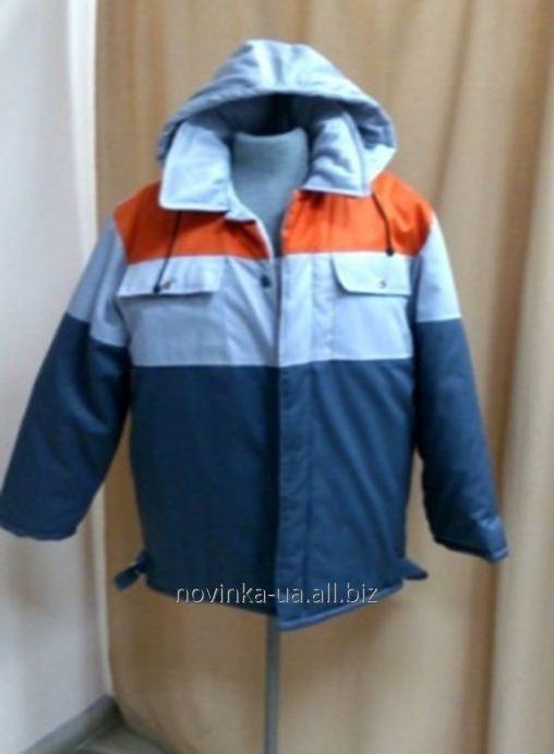 Куртка утепленная прямого силуэта с капюшоном синяя с вставками серого и ораньжевого цвета
