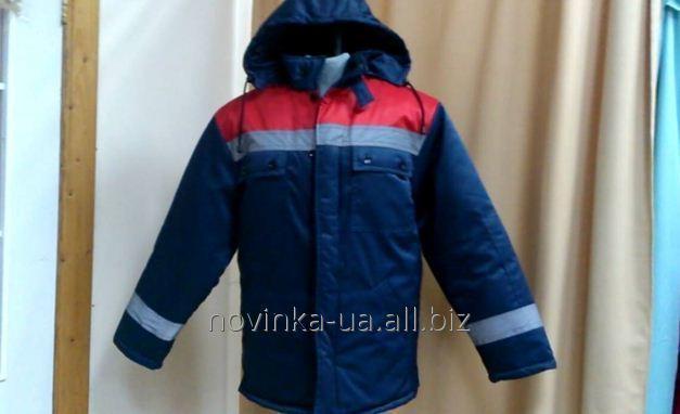 Куртка утепленная с капюшоном темно-синяя со втавкой красного цвета