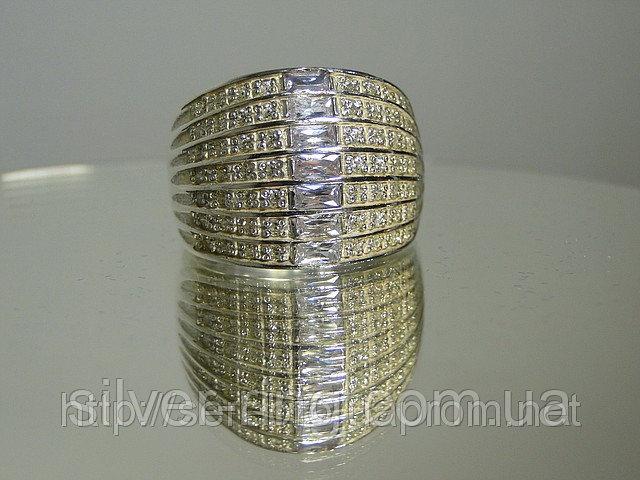 Широкое кольцо с цирконием, серебро 925 пробы 0049К