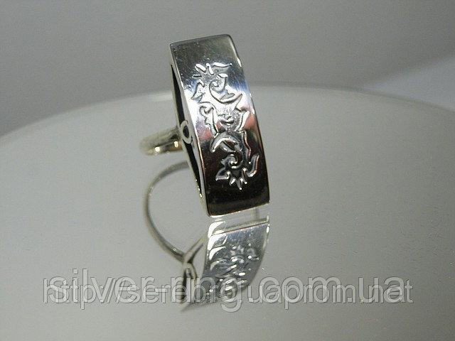 Серебряное молодежное кольцо, этническое, бескаменка 0052К