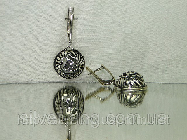 Филигранные серебряные серьги 0060С