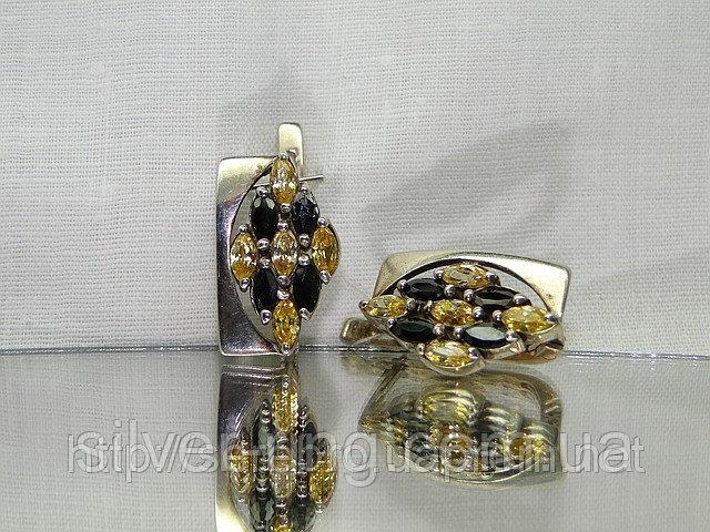 Стильные серебряные сережки с цирконом Киев 0052С
