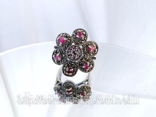 Винтажное серебряное кольцо с рубином и марказитами 0002К