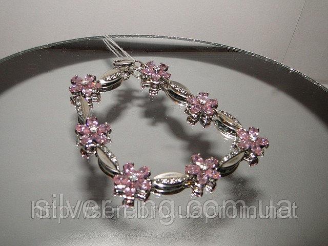 Серебряный браслет с розовыми циркониями 0081Б