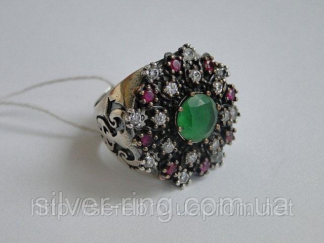 Серебрянное кольцо с изумрудом 0072К