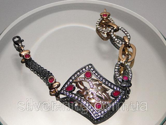 Черненый браслет с позолотой и рубинами 0089Б
