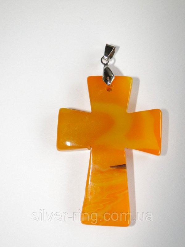 "Подвес ""Крест"" из оранжевого агата 0059"