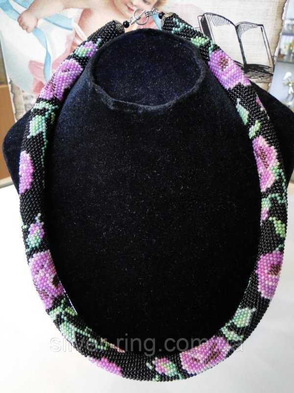 Buy Ornament-tourniquet beaded roses black 0205
