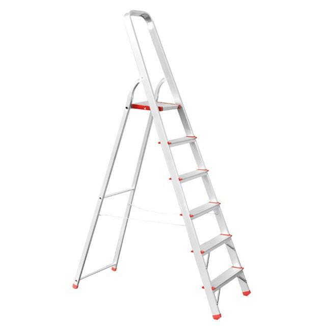 Купить Стремянка алюминиевая 6 ступеней, высота до платформы 1280мм Intertool LT-1006