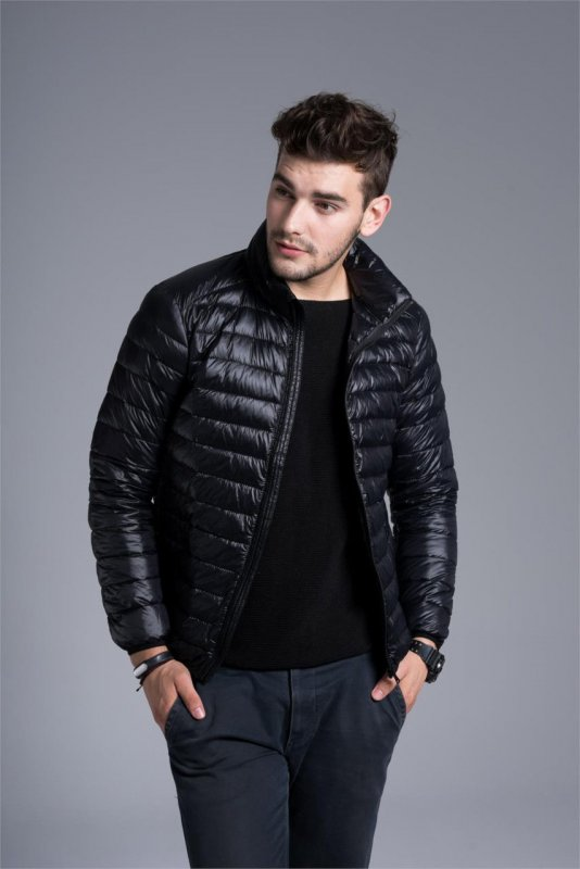53454aec6670a Мужская демисезонная куртка-пуховик, модель 723 черный купить в Днепр