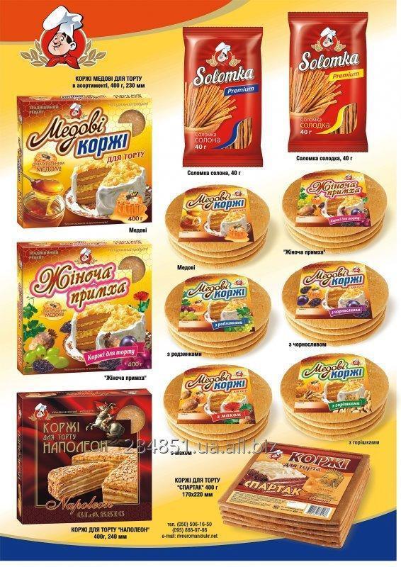 """Купить Коржи для торта """"Медовие"""" и """"Наполеон"""" , Соломка """"Премиум"""" сладкая, соленая."""