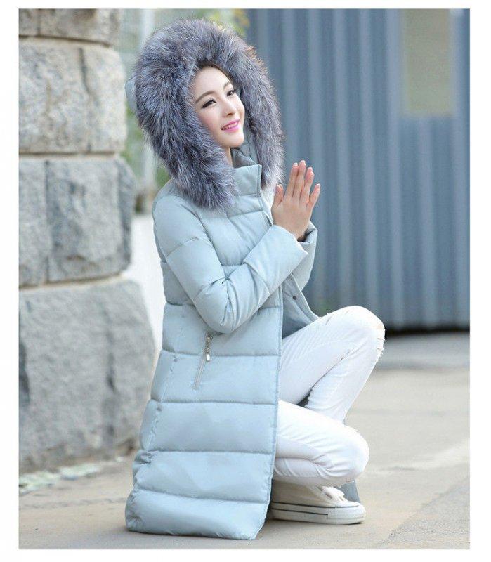 Купить Женский стильный пуховик. Модель 859 голубой