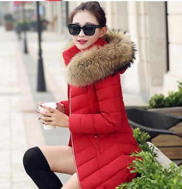 Купить Женский стильный зимний пуховик с меховым капюшоном. Модель 906