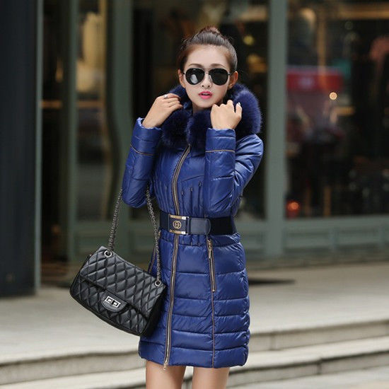 Купить Женский зимний пуховик с меховым воротником, модель 0318 синий