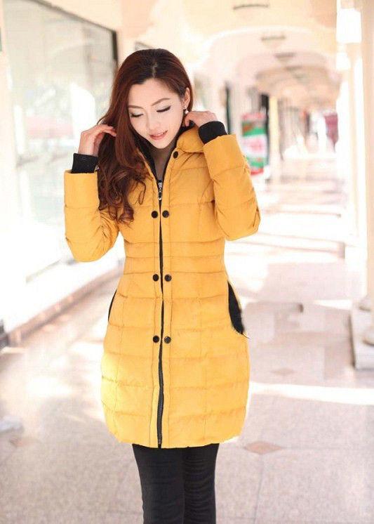 Купить Женский зимний пуховик. Модель 832 желтый