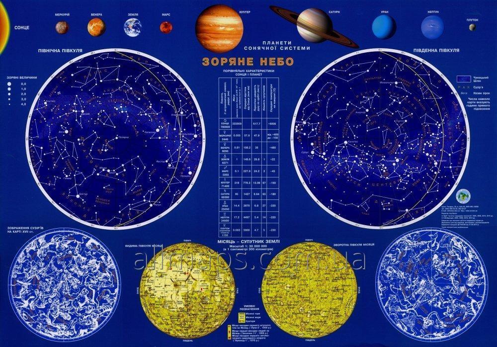 Настенная карта звездного неба - 65х45 см - ламинированная