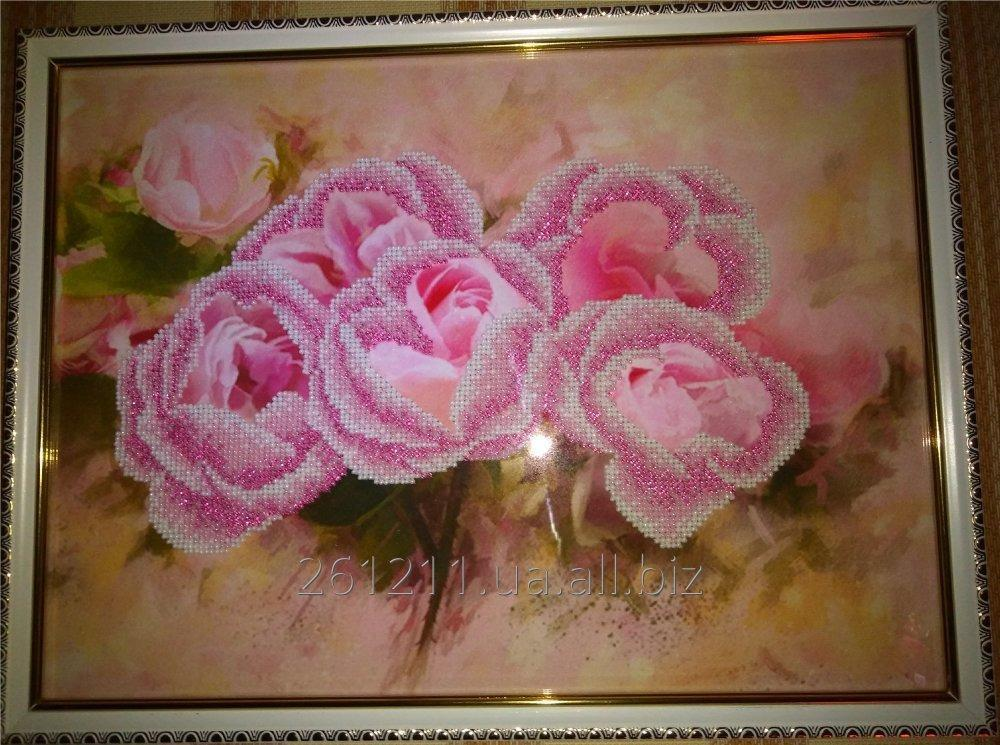 """Купить Картина вышитая чешским бисером """"Розовые розы"""""""