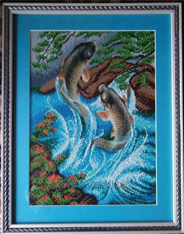 """Купить Картина вышитая бисером """"Рыбы"""""""