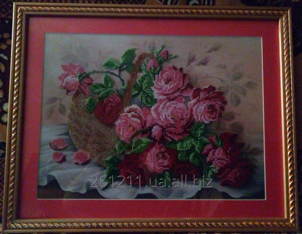 """Купить Вышитая бисером картина """"Розы в корзине"""""""
