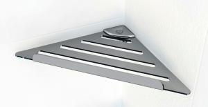 Купить Угловая полочка для ванной комнаты металическая с прямоугольным бортиком код PT004