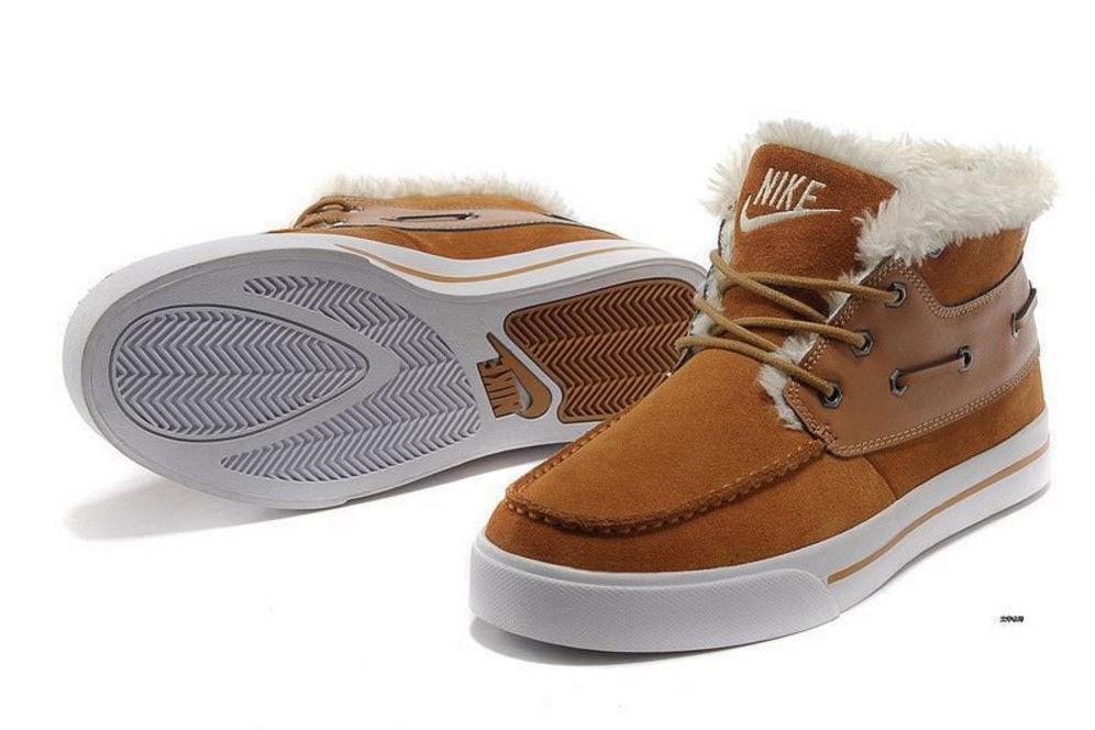 3040b45b Зимние кроссовки nike High Top Fur коричневые Оригинальные замшевые черные