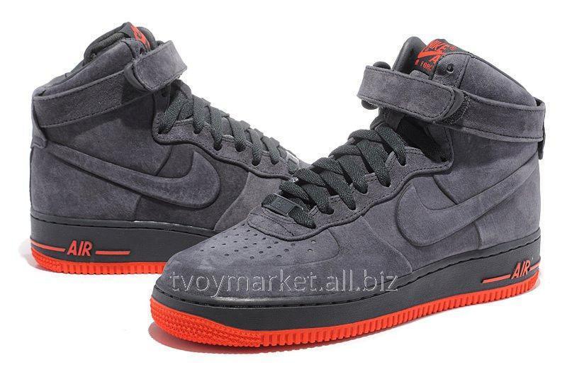 Мужские кроссовки Nike Air Force High Suede Grey оригинал купить в Киеве 98aeb1356868c