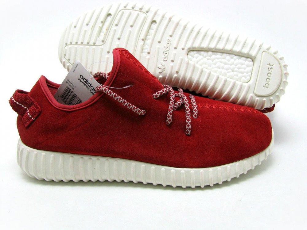 7b86e015 Кроссовки красные мужские Adidas Yeezy Boost 350 Low Замшевые Оригинал