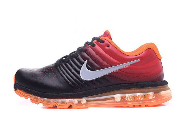 359a05c3 Мужские кроссовки Nike Air Max 2017 Кожаные черно-оранжевые Оригинальные