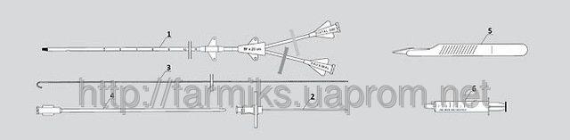 Купить Комплект для катетеризации крупных сосудов (по Сельдингеру) 2-канальный (ZKDND)