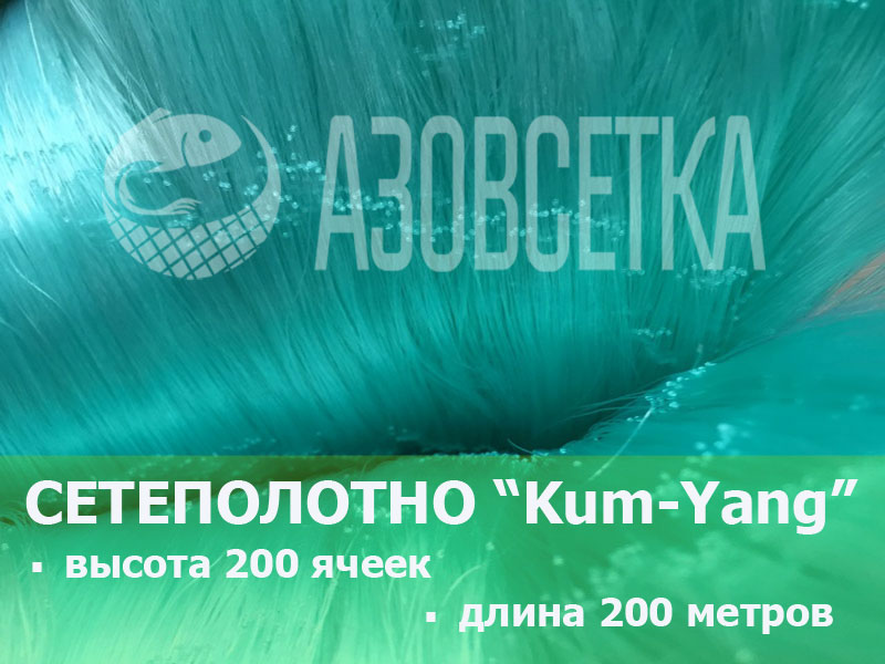 Сетевое полотно Kum-Yang (Кум-Янг) из монолески, ячейка 25мм, толщина 0,15мм, высота 200 ячеек