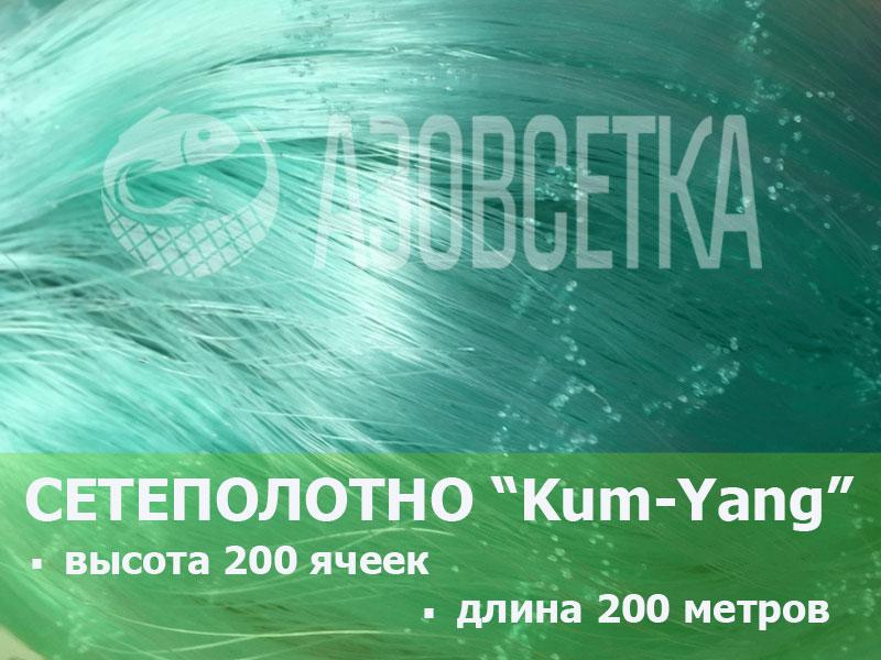 Сетевое полотно Kum-Yang (Кум-Янг) из монолески, ячейка 42мм, толщина 0,15мм, высота 200 ячеек